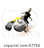 Royalty Free RF Clipart Illustration Of A 3d Soccer Guy Character Kicking A Soccer Ball Version 13 by Julos