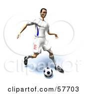 Royalty Free RF Clipart Illustration Of A 3d Soccer Guy Character Kicking A Soccer Ball Version 17 by Julos