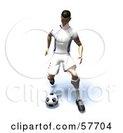 Royalty Free RF Clipart Illustration Of A 3d Soccer Guy Character Kicking A Soccer Ball Version 16 by Julos