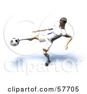 Royalty Free RF Clipart Illustration Of A 3d Soccer Guy Character Kicking A Soccer Ball Version 19 by Julos
