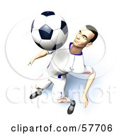 Royalty Free RF Clipart Illustration Of A 3d Soccer Guy Character Bouncing A Ball Off Of His Chest Version 9 by Julos
