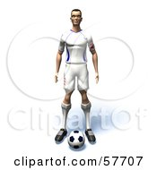 Royalty Free RF Clipart Illustration Of A 3d Soccer Guy Character Standing Over A Soccer Ball Version 1