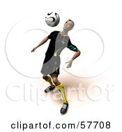 Royalty Free RF Clipart Illustration Of A 3d Soccer Guy Character Bouncing A Ball Off Of His Chest Version 5 by Julos