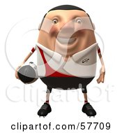 3d Chubby Rugby Steve Character Facing Front And Holding A Ball