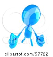 3d Blue Bob Character Holding Two Thumbs Up