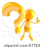 3d Yellow Bob Character Holding A Question Mark - Version 3