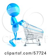 3d Blue Bob Character Pushing A Shopping Cart - Version 3
