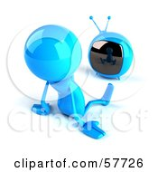 3d Blue Bob Character Watching Television - Version 2