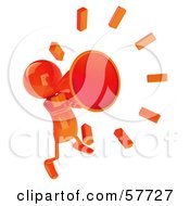 Royalty Free RF Clipart Illustration Of A 3d Orange Bob Character Yelling Through A Megaphone