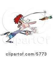 Poster, Art Print Of Dieting Woman Chasing A Chocolate Covered Carrot On A Stick