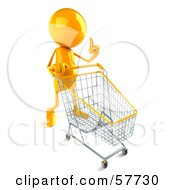 3d Yellow Bob Character Pushing A Shopping Cart - Version 1