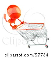 3d Orange Bob Character Pushing A Shopping Cart Version 2 by Julos