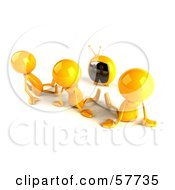 3d Yellow Bob Characters Watching Tv - Version 2