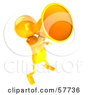 Royalty Free RF Clipart Illustration Of A 3d Yellow Bob Character Using A Megaphone Version 6