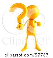Royalty Free RF Clipart Illustration Of A 3d Yellow Bob Character Holding A Question Mark Version 1