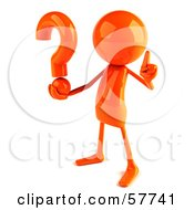Royalty Free RF Clipart Illustration Of A 3d Orange Bob Character Holding A Question Mark Version 2