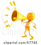 Royalty Free RF Clipart Illustration Of A 3d Yellow Bob Character Using A Megaphone Version 1