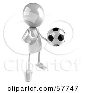 3d White Bob Character Playing Soccer - Version 2