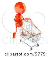 3d Orange Bob Character Pushing A Shopping Cart Version 1 by Julos