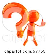 Royalty Free RF Clipart Illustration Of A 3d Orange Bob Character Holding A Question Mark Version 1