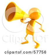 Royalty Free RF Clipart Illustration Of A 3d Yellow Bob Character Using A Megaphone Version 4