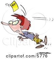 Woman Chasing A Yellow Memo Slip Clipart Illustration