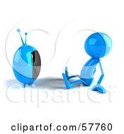 3d Blue Bob Character Watching Television - Version 1