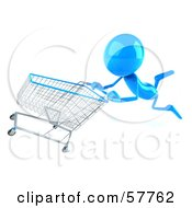 Royalty Free RF Clipart Illustration Of A 3d Blue Bob Character Pushing A Shopping Cart Version 5