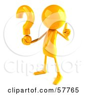 Royalty Free RF Clipart Illustration Of A 3d Yellow Bob Character Holding A Question Mark Version 2