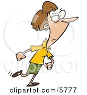 Woman Walking With A Determined Expression Clipart Illustration by toonaday