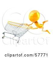 3d Yellow Bob Character Pushing A Shopping Cart Version 3 by Julos