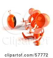 3d Orange Bob Characters Watching Tv
