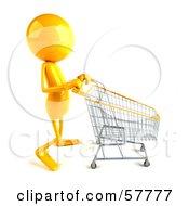 3d Yellow Bob Character Pushing A Shopping Cart Version 2 by Julos
