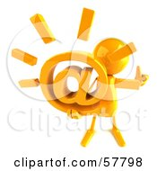 Royalty Free RF Clipart Illustration Of A 3d Yellow Bob Character Holding An At Symbol Version 3
