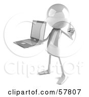 3d White Bob Character Holding A Laptop - Version 2