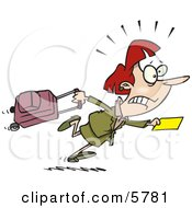 Woman In A Hurry To Catch Her Flight Clipart Illustration