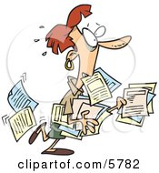 Stressed Business Woman Carrying And Dropping Documents Clipart Illustration by toonaday #COLLC5782-0008
