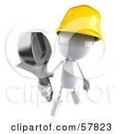 3d White Bob Character Construction Worker Holding A Wrench - Version 3
