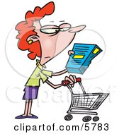 Woman In A Grocery Store Readint The Nutrition Label On A Box Of Food Clipart Illustration