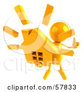 Royalty Free RF Clipart Illustration Of A 3d Yellow Bob Character Holding A House Version 3