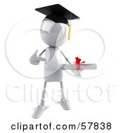 Royalty Free RF Clipart Illustration Of A 3d White Bob Character Graduate Holding A Diploma Version 1