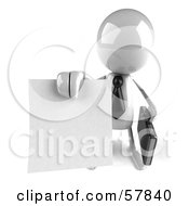 Royalty Free RF Clipart Illustration Of A 3d White Bob Character Holding A Contract Version 3