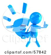 Royalty Free RF Clipart Illustration Of A 3d Blue Bob Character Holding A Euro Symbol Version 3 by Julos