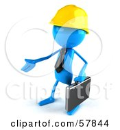 Poster, Art Print Of 3d Blue Bob Character Contractor Reaching Out To Shake Hands - Version 2