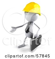 Royalty Free RF Clipart Illustration Of A 3d White Bob Contractor Character Reaching Out To Shake Hands Version 2