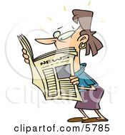Brunette Woman Reading A Newspaper Clipart Illustration by toonaday