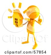 Royalty Free RF Clipart Illustration Of A 3d Yellow Bob Character Holding A House Version 2