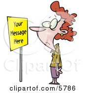 Woman Staring At A Yellow Sign Clipart Illustration