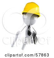 Royalty Free RF Clipart Illustration Of A 3d White Bob Contractor Character Reaching Out To Shake Hands Version 3