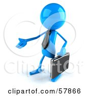 Poster, Art Print Of 3d Blue Bob Character Carrying A Briefcase And Reaching Out To Shake Hands - Version 2
